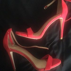 JustFab Red ankle strap heels